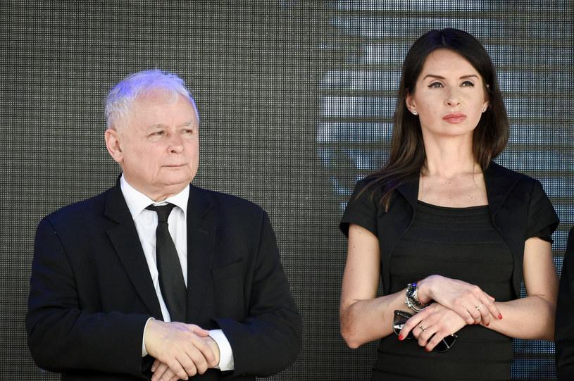 Marta Kaczyńska i Jarosław Kaczyński podczas obchodów ósmej rocznicy katastrofy smoleńskiej /Jacek Domiński /Reporter