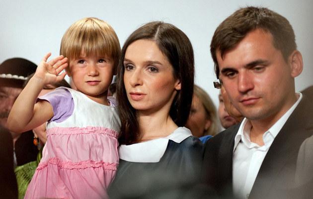 Marta Kaczyńska z córką i mężem, fot.Lech Gawuc
