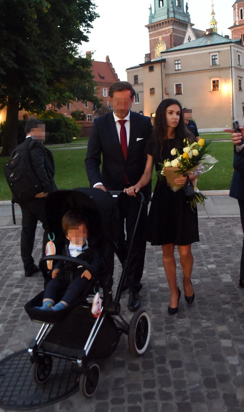 Marta Kaczyńska z mężem i synem /M.Lasyk /Reporter