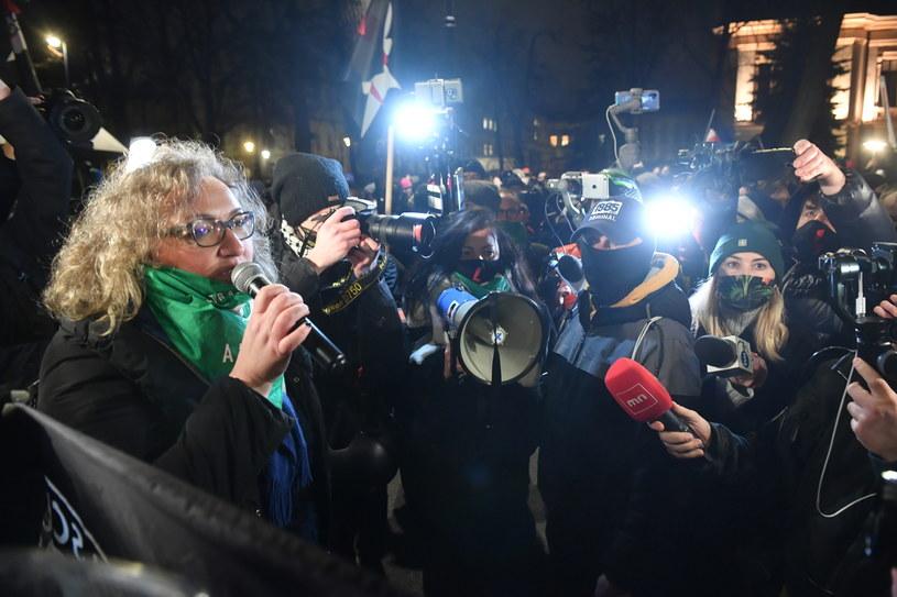 Marta Lempart podczas protestu / Radek Pietruszka   /PAP
