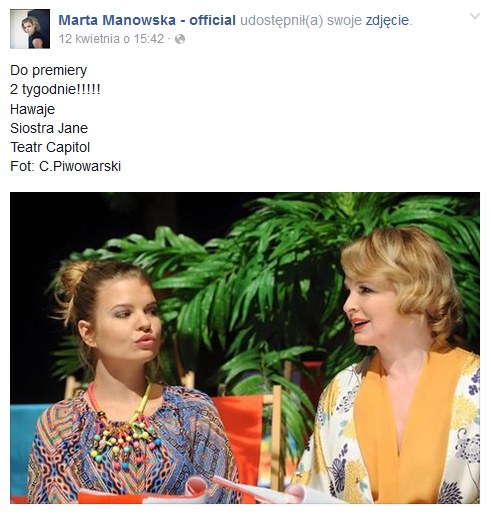 "Marta Manowska i Dominika Ostalowska podczas próby do spektaklu ""Hawaje"" /Facebook"