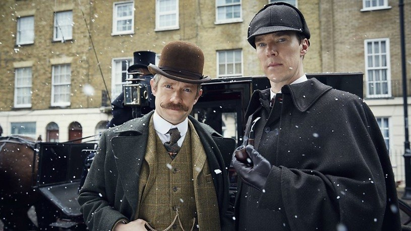 "Martin Freeman (Watson) i Benedict Cumberbatch (Sherlock) w filmie ""Sherlock i upiorna panna młoda"" /materiały dystrybutora"