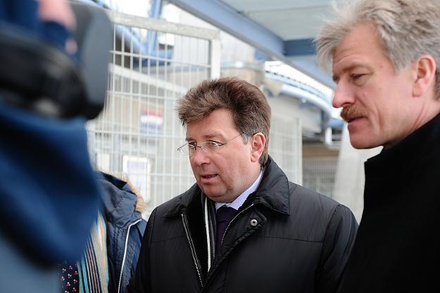 Martin Kallen w poniedziałek wizytował stadion w Poznaniu Fot.  Jakub Kaczmarczyk /PAP
