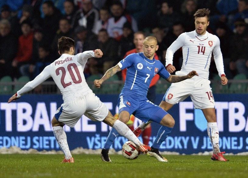 Martin Pospiszil (nr 20 na koszulce) w meczu towarzyskim ze Słowacją /AFP