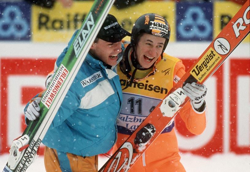Martin Schmitt (z prawej) i Sven Hannawald w 1999 roku /Getty Images