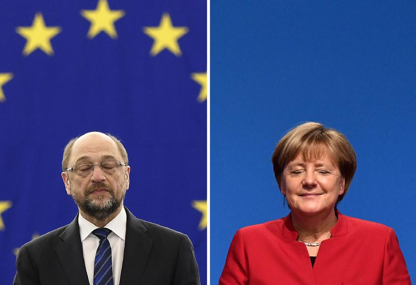 Martin Schulz i Angela Merkel / Credit Frederick FLORIN, Tobias SCHWARZ /AFP
