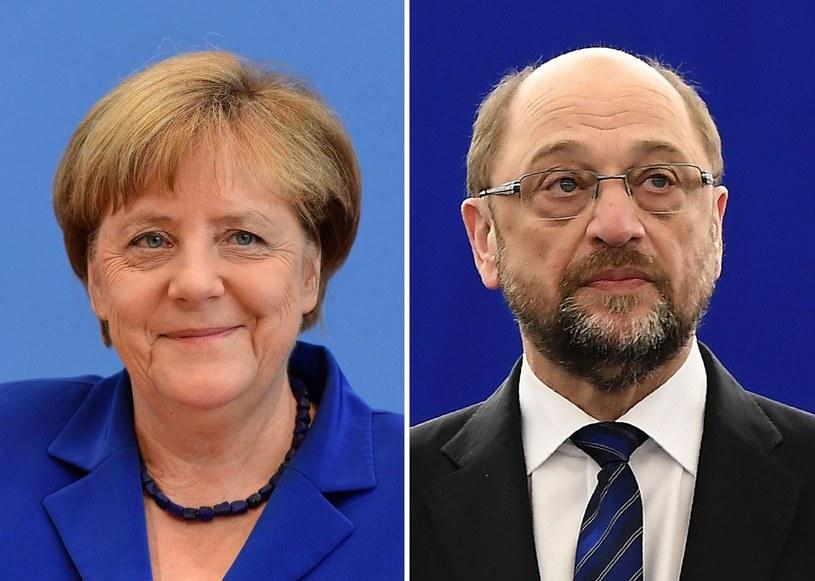 Martin Schulz i Angela Merkel /Tobias SCHWARZ/Frederick FLORIN /AFP
