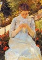 Mary Cassatt, Szyjąca dziewczyna, 1880-82 /Encyklopedia Internautica