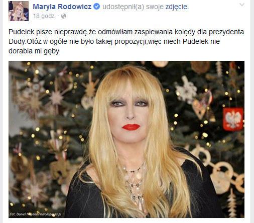 Maryla Rodowicz na Facebooku /