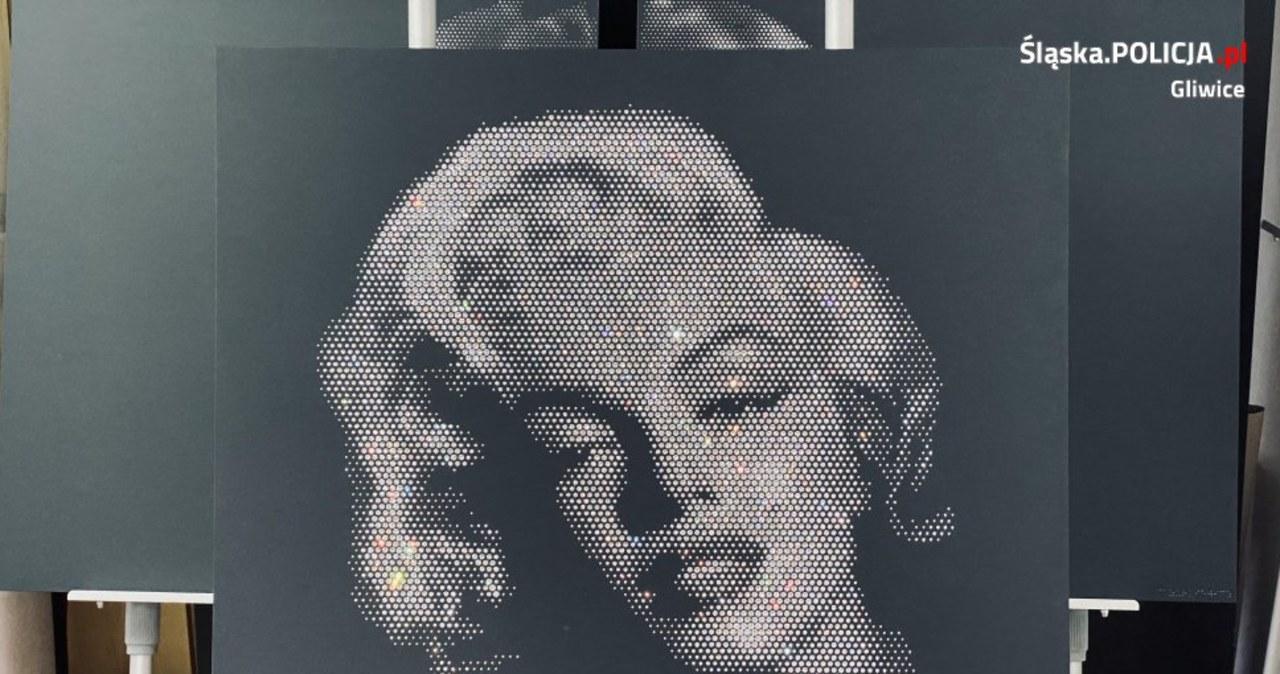 Marylin Monroe z 6 tys. kryształków Swarovskiego. Skradziony obraz odnaleziony w Gliwicach