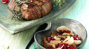 Marynowany stek wołowy z ostrym dipem cebulowo-żurawinowym