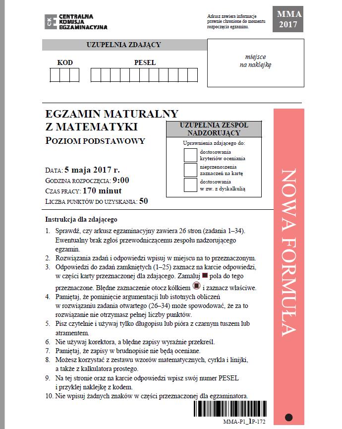 Matematyka poziom podstawowy – arkusz CKE /CKE /