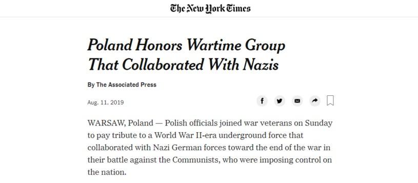"""Materiał na stronie """"New York Times"""" /"""