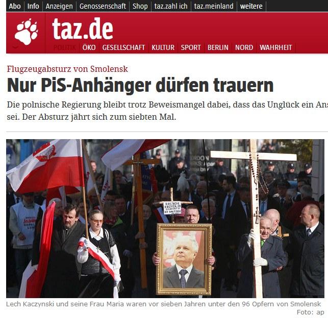 Materiał o rocznicy katastrofy smoleńskiej na łamach taz.de /taz.de /
