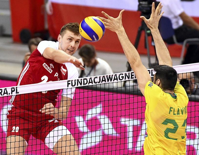 Mateusz Bieniek w meczu z Brazylią / Jacek Bednarczyk    /PAP