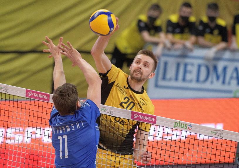 Mateusz Bieniek w meczu z Vervą /Grzegorz Michałowski /PAP