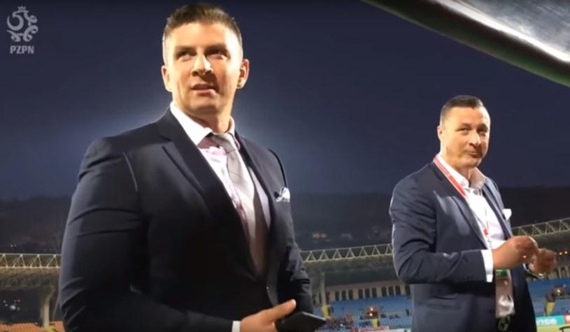 Mateusz Borek i Tomasz Hajto komentowali kadrę w Polsacie. /
