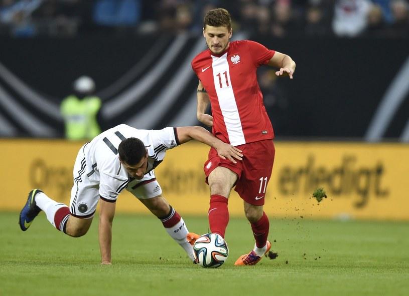 Mateusz Klich podczas towarzyskiego meczu reprezentacji Polski z Niemcami /AFP