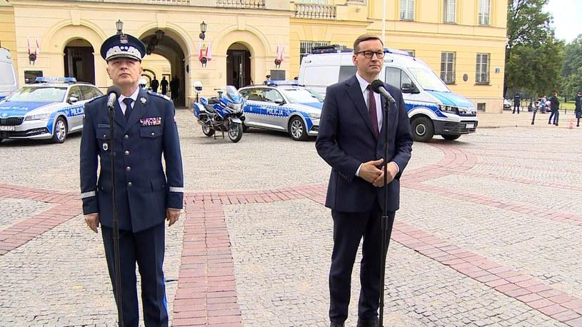 Mateusz Morawiecki i gen. insp. Jarosław Szymczyk /Polsat News