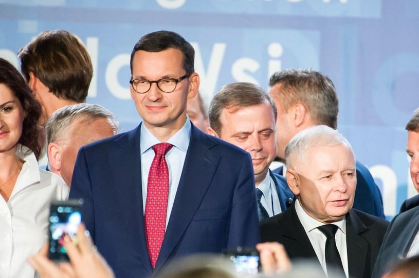Mateusz Morawiecki i Jarosław Kaczyński na wojewódzkiej konwencji PiS w Gdańsku /Wojciech Strozyk/ /Reporter