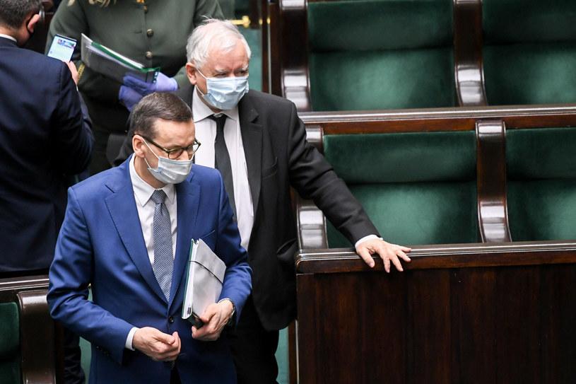 Mateusz Morawiecki i Jarosław Kaczyński / fot Jacek Dominski /Reporter