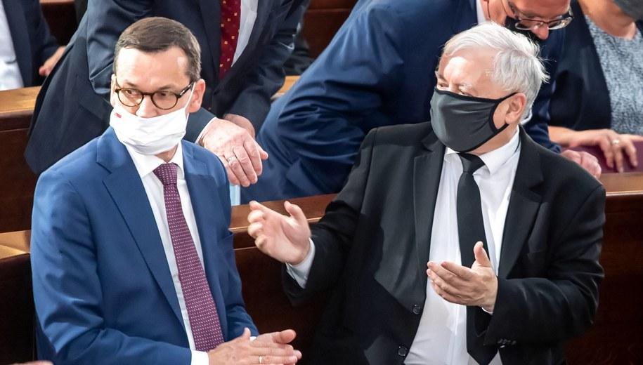 Mateusz Morawiecki i Jarosław Kaczyński /\Tytus Żmijewski /PAP