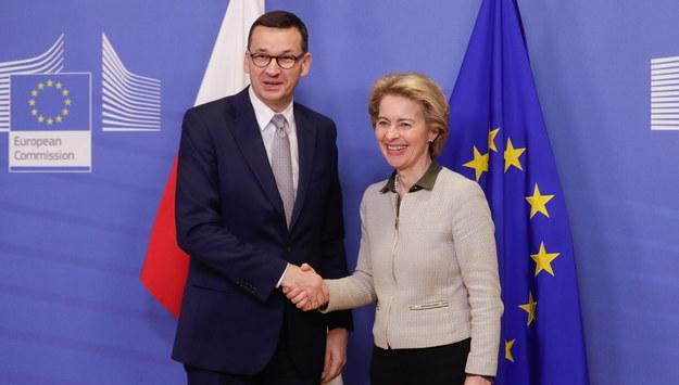 Mateusz Morawiecki i Ursula von der Leyen /STEPHANIE LECOCQ  /PAP/EPA