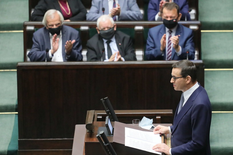 Mateusz Morawiecki na sali obrad w Sejmie /PAP/Paweł Supernak /PAP