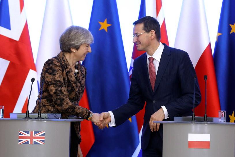 Mateusz Morawiecki oraz Theresa May podczas konferencji prasowej w KPRM. /Rafał Guz /PAP