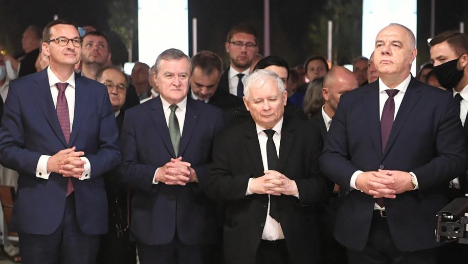 Mateusz Morawiecki, Piotr Gliński, Jarosław Kaczyński i Jacek Sasin /\Tytus Żmijewski /PAP