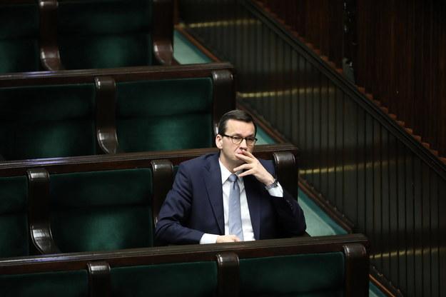 Mateusz Morawiecki podczas obrad Sejmu /Wojciech Olkuśnik /PAP