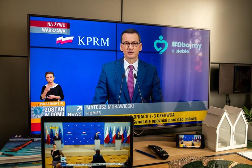 Mateusz Morawiecki podczas środowej (27 maja) konferencji w KPRM /Paweł Krawczyk /INTERIA.PL