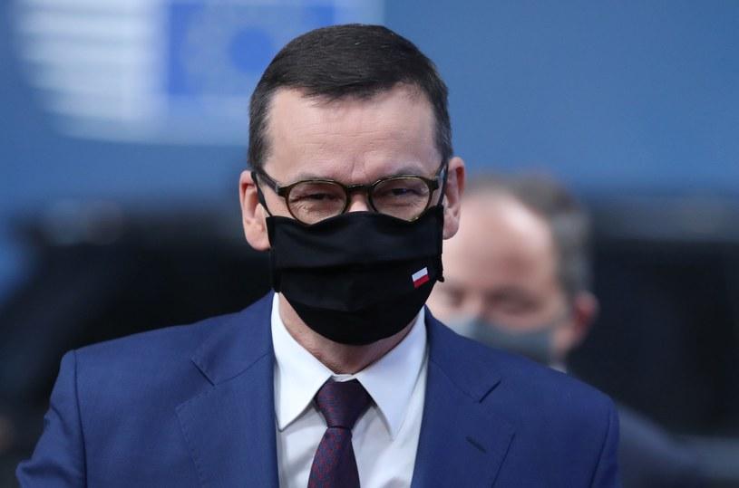 Mateusz Morawiecki podczas unijnego szczytu w Brukseli /AFP