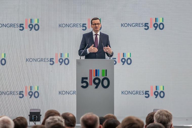 Mateusz Morawiecki, prezes Rady Ministrów podczas Kongresu 590 w Jasionce k. Rzeszowa, fot. Ireneusz Rek /INTERIA.PL