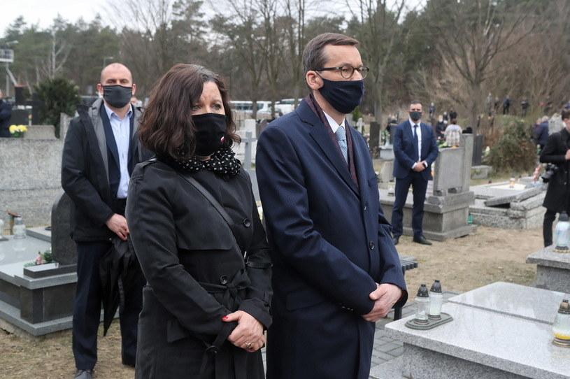 Mateusz Morawiecki z żoną Iwoną na pogrzebie Krawczyka /Roman Zawistowski /PAP
