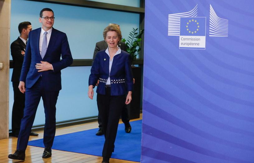Mateusz Morwiecki i Ursula von der Leyen w Brukseli /STEPHANIE LECOCQ  /PAP/EPA