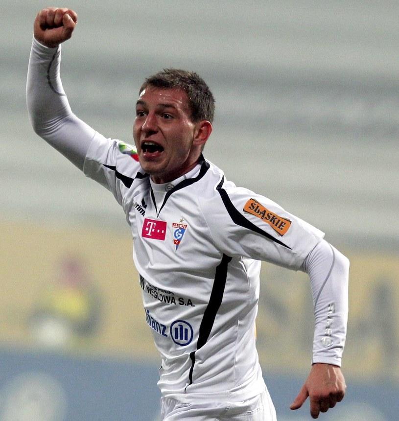 Mateusz Zachara zdobył gola na 1-0 dla Górnika. /Andrzej Grygiel /PAP