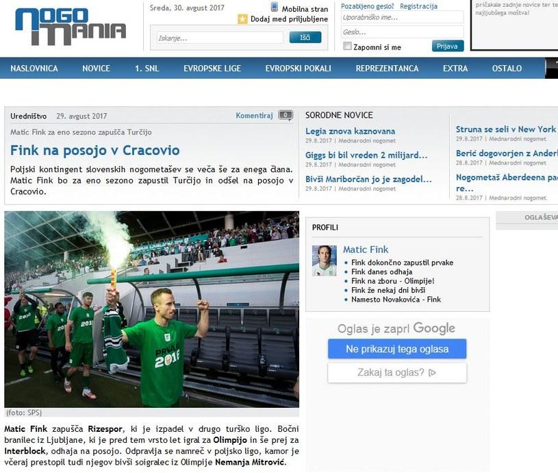 Matic Fink na celowniku Cracovii - informuje słoweński portal nogomania.com /print screen /