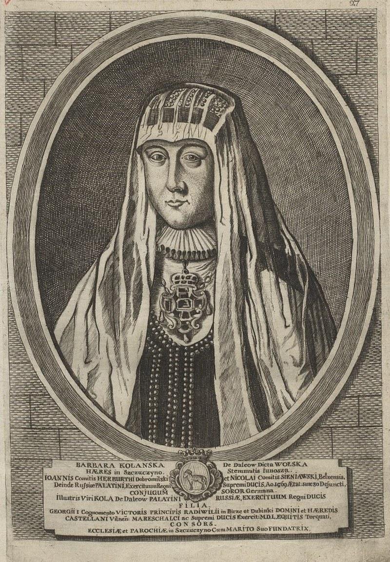 Matka Barbary Radziwiłłówny, Barbara Kolanka, na XVIII-wiecznej rycinie (domena publiczna) /Ciekawostki Historyczne
