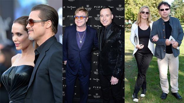 Matrymonialne zaskoczenia 2014! Jolie/Pitt (L), John/Furnish (C) i Zamachowski/Richardson - fot.AKPA /Getty Images
