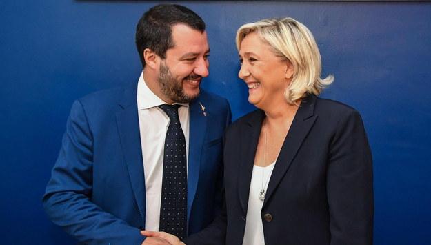 Matteo Salvini i Marine Le Pen /ALESSANDRO DI MEO /PAP/EPA