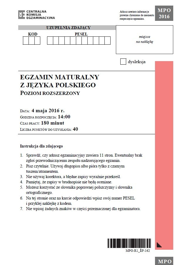 Matura 2016 - język polski poziom rozszerzony /