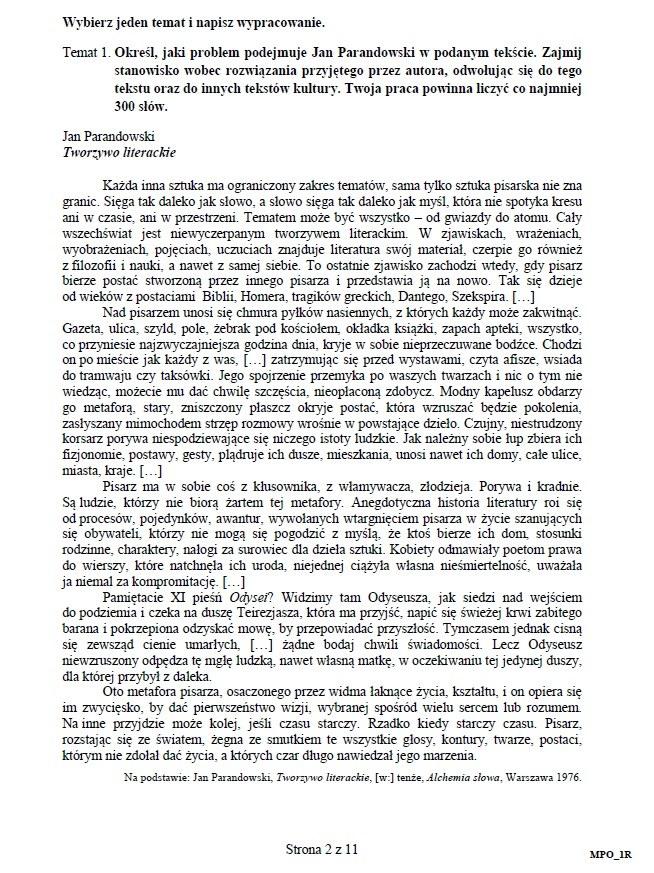 matura polski odpowiedzi 2021