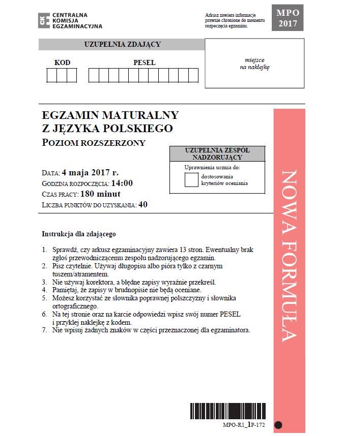 Matura 2017. Język polski poziom rozszerzony /CKE /
