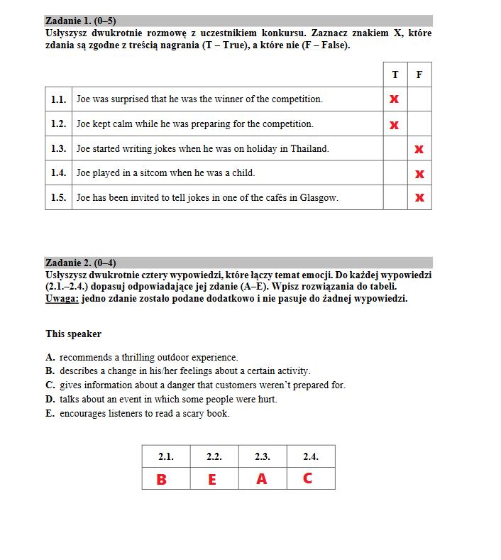 matura z angielskiego odpowiedzi 2021