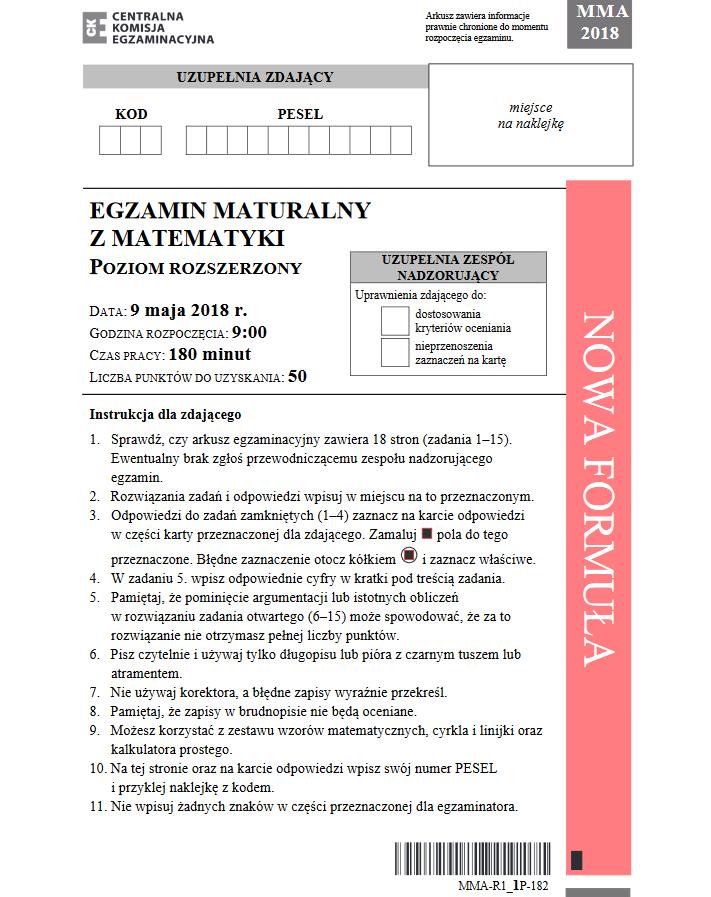 matura poprawkowa 2018 matematyka arkusz pdf
