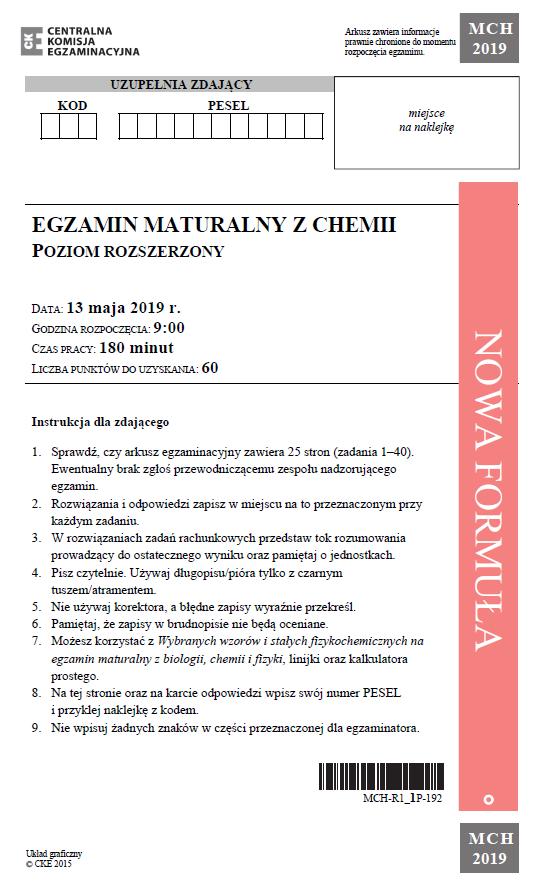 Matura 2019: Chemia - poziom rozszerzony /CKE