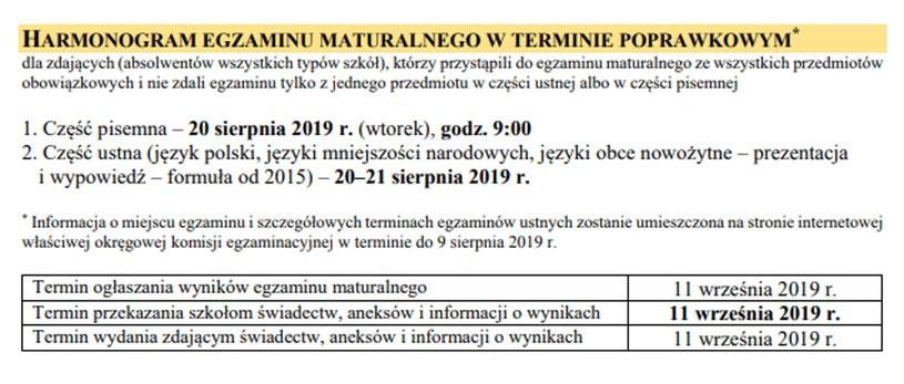 Matura 2019 - egzaminy poprawkowe /CKE
