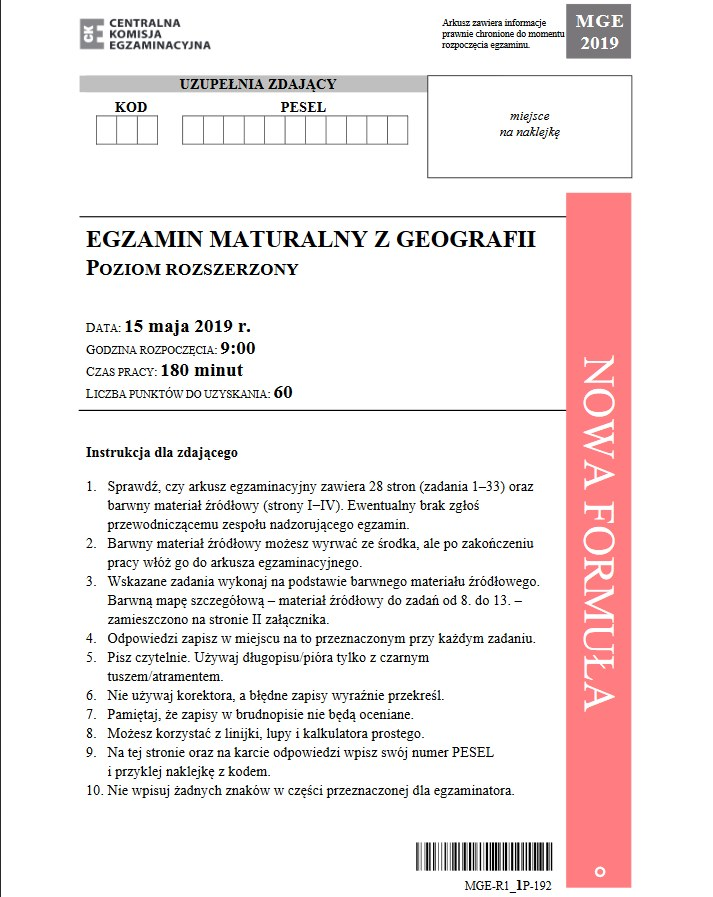 Matura 2019: Geografia /CKE