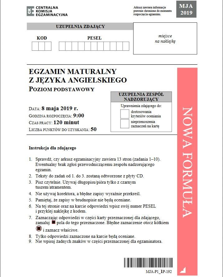 Matura 2019: Język angielski poziom podstawowy /CKE